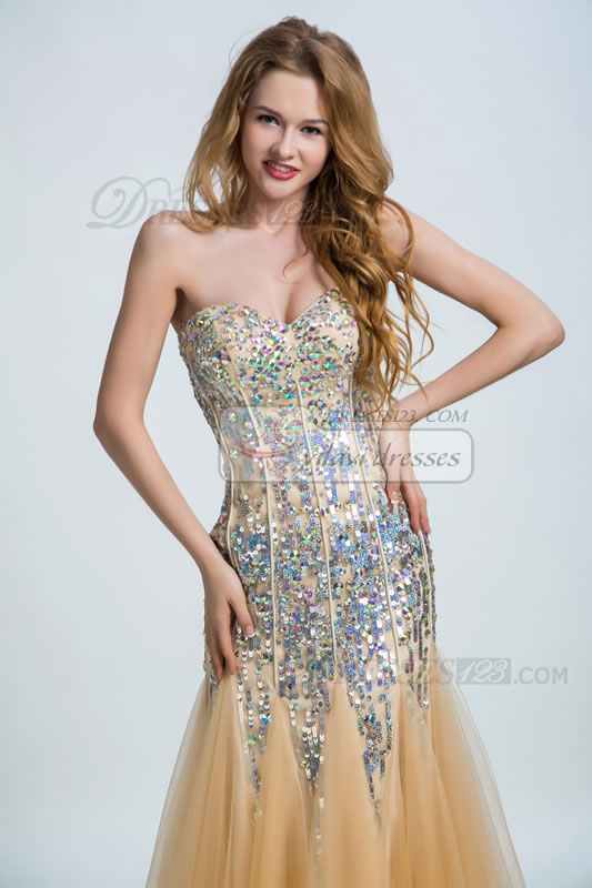 Floor-Length Long Sweetheart Sequins Crystal Tulle Trumpet Prom Dresses