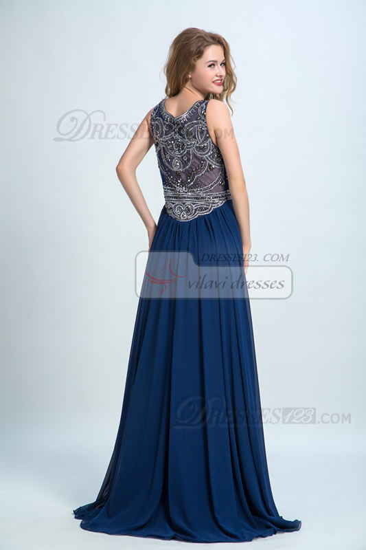 Formal Scoop Neck Beading A-Line Women Long Prom Dresses