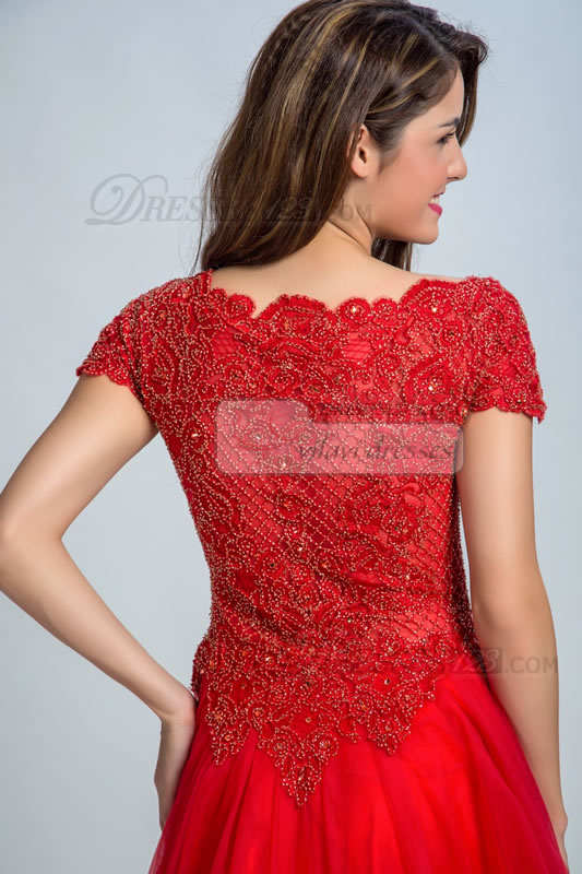 Dramatic Sheer Ball Gown Neck Applqieus Beading Prom Dresses