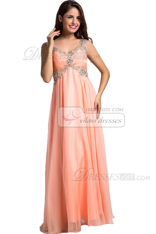 Women Sweetheart Straps Beading Crystal A-Line Maxi Prom Dresses