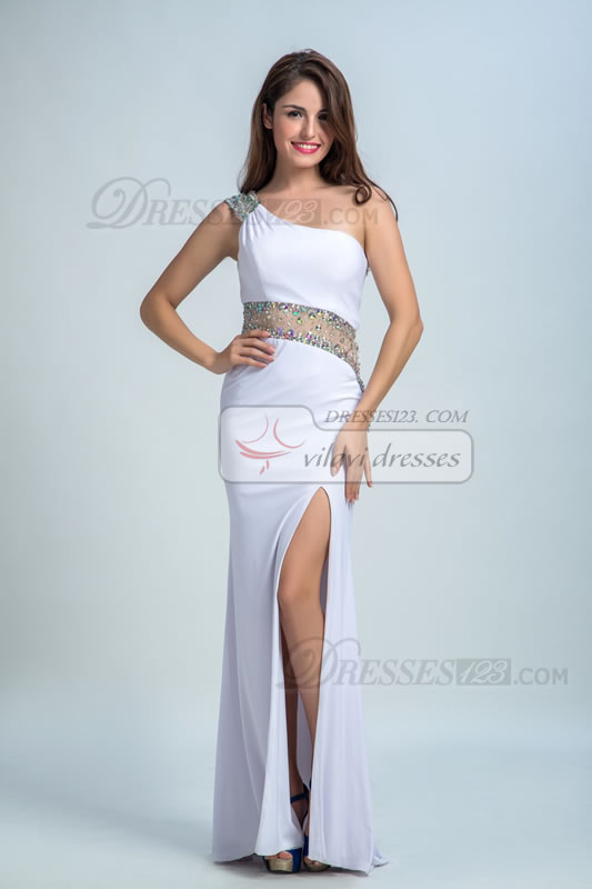 Sexy One Shoulder Beading Split-Front Sheath Prom Dresses