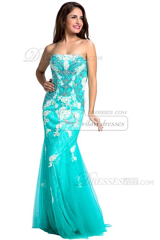 Women Strapless Beading Appliques Trumpet Lace Prom Dresses
