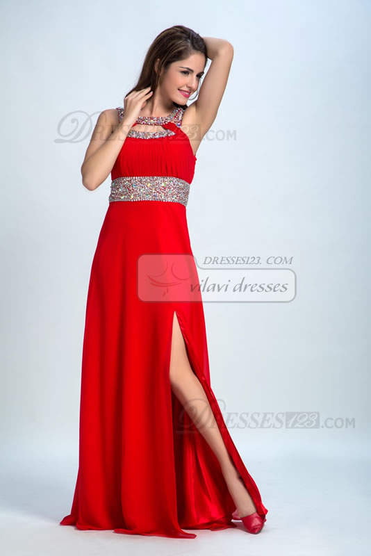A-Line Jewel Neckline Sequins Beading Split-Front Long Evening Dress