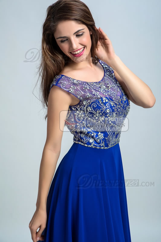 Women Long Scoop Neck Beading A-Line Prom Dresses