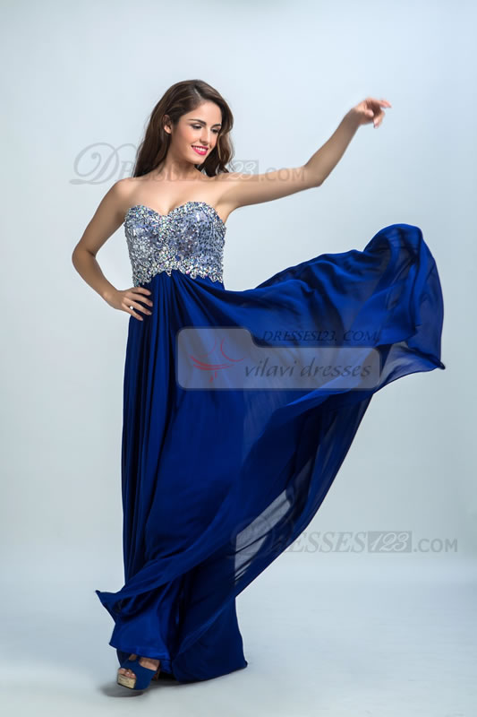 A-Line Strapless Sweetheart Sequins Beading Prom Dresses