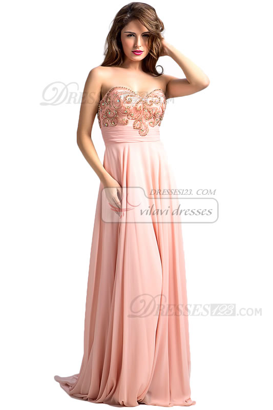 Women Formal A-Line Sweetheart Beading Long Prom Dresses