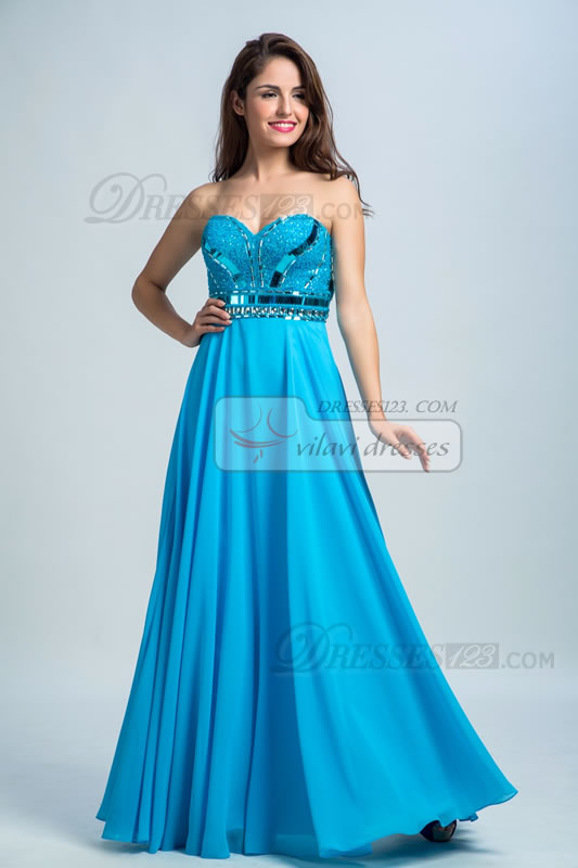 Strapless Formal Sweetheart Sequins Beading Royal Blue Prom Dresses