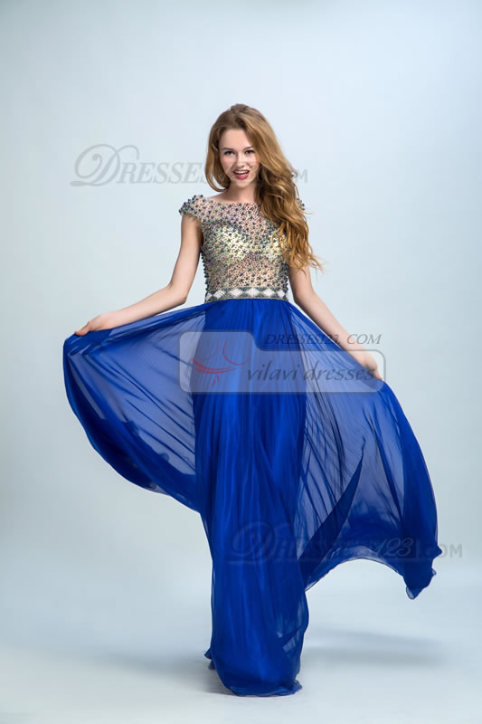 Women Cap Short Sleeves Beading Pleats Long Prom Dresses