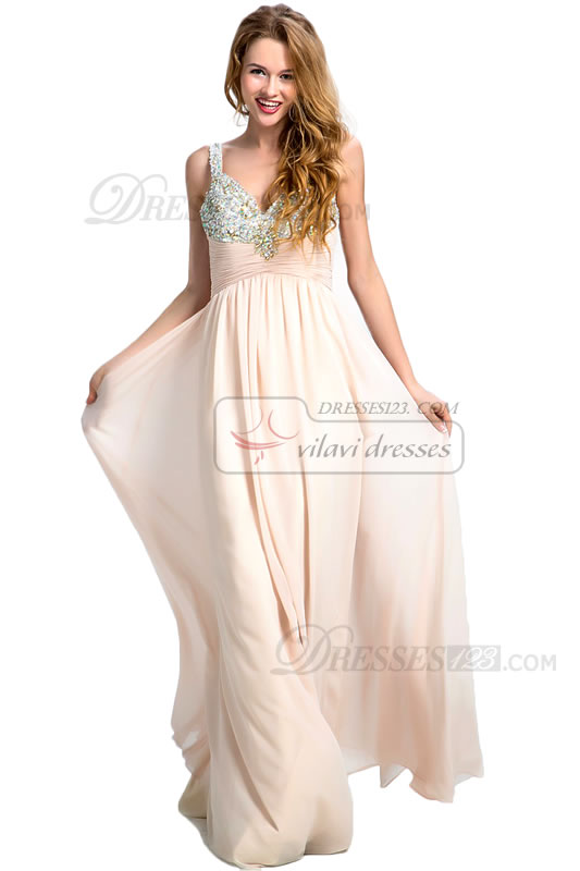 Women Formal Straps Beading Pleats Long Prom Dresses