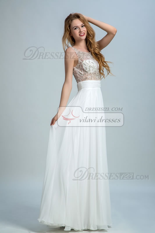 Sheer Back Scoop Neck Beading A-Line Prom Dresses