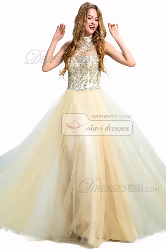 Luxurious Halter Beading Crystal Long Formal Prom Dresses