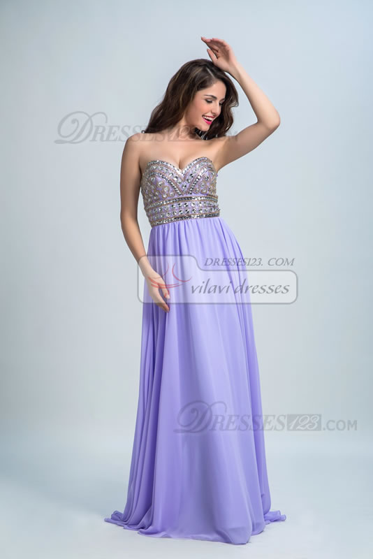 A-Line Strapless Formal Sweetheart Beading Long Prom Dresses