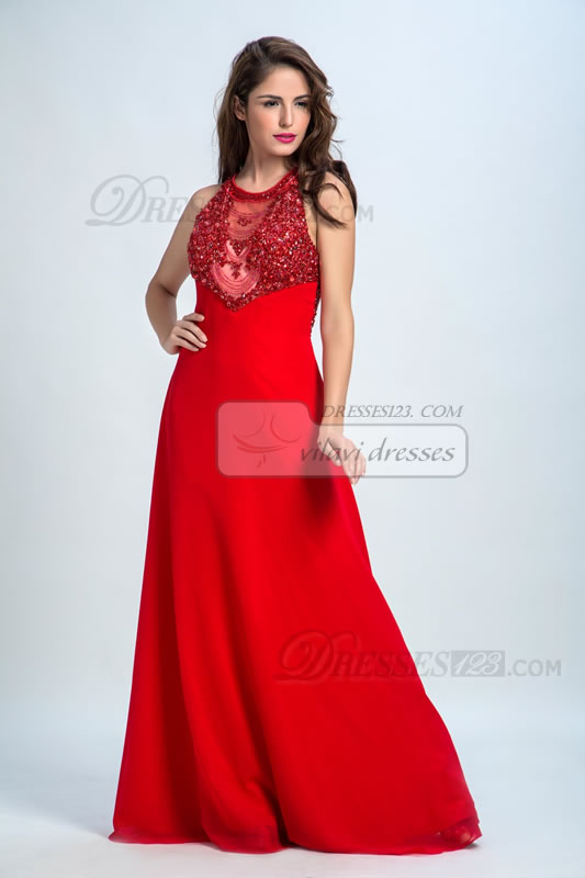 Women Jewel Neck Beading A-Line Long Formal Prom Dresses