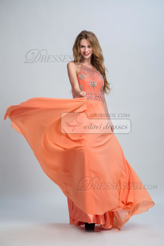 Women Halter Beading Crystal Backless Long Prom Dress Maxi Dress
