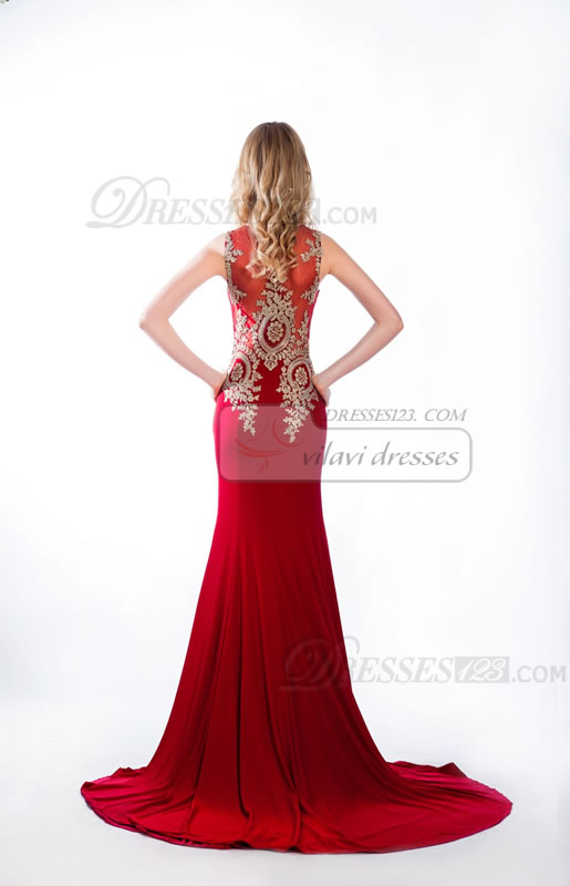 Mermaid/Trumpet Round Brought Chiffon Appliques Sweep/Brush Train Prom Dresses