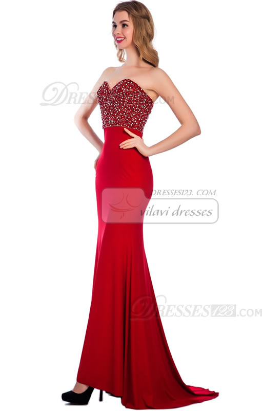 Woemn Long Sweetheart Beading Red Mermaid Evening Prom Dresses