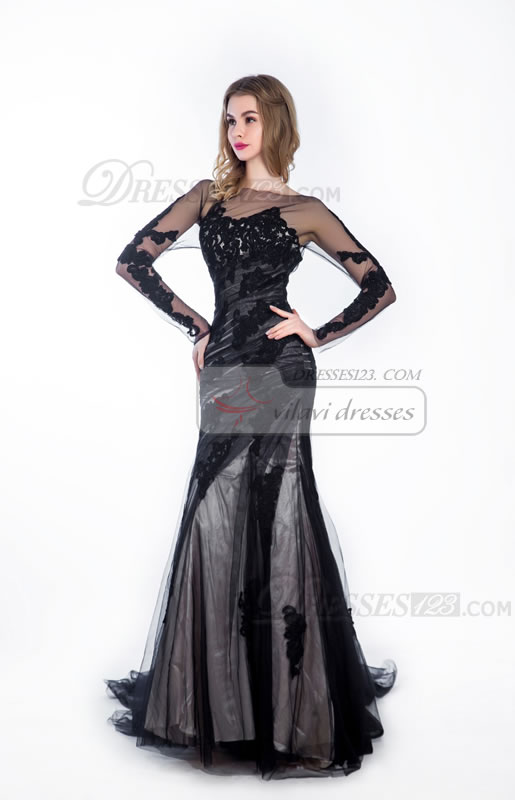 Mermaid Appliques Tulle Long Sleeves Formal Maxi Prom Dresses
