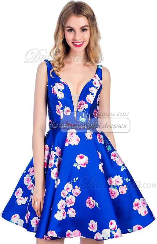 V-Neck Stretch Satin Beading Print Cocktail Dresses Short Homecoming Dresses