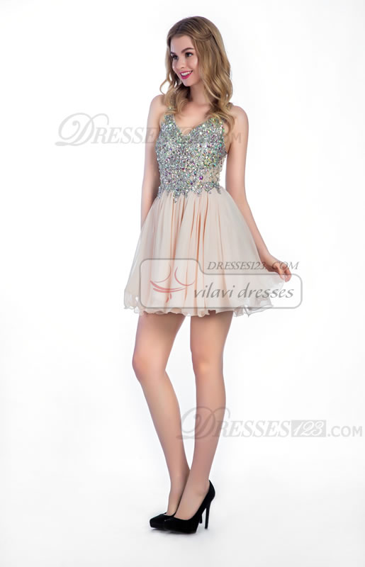 Straps A-Line V-neck Beading Crystal/Rhinestone Short Homecoming Dresses