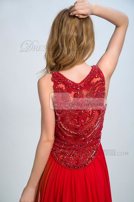 A-line Jewel Neckline Floor-length Natural Waist Sleeveless Beading Prom Dress