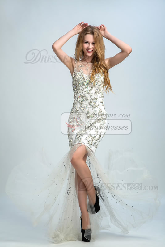Scoop Neckline Sleeveless Mermaid/Trumpet Floor-length Natural Lace-up Back Beading and Crystal Prom Dress