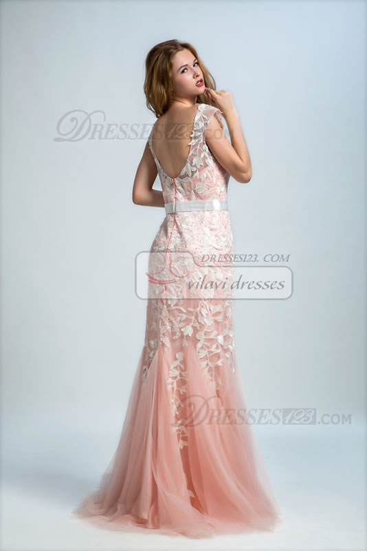 Mermaid/Trumpet Floor-length Sleeveless Scoop Appliques Flesh Pink Zipper Back Prom Dress