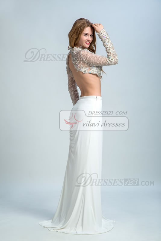 Two Pieces Stand Collar Sheath/Column Sweep/Brush Train Dropped Waist Backless Long Sleeve Appliques Prom Dress