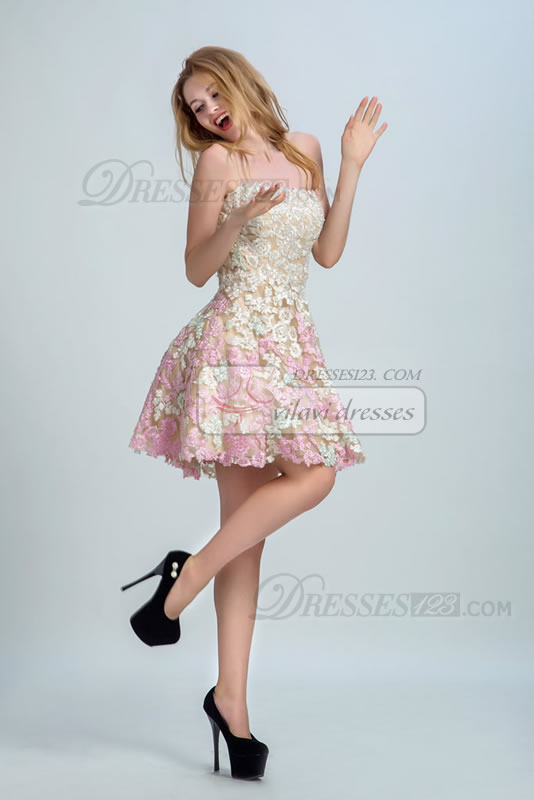Tube Top Sleeveless A-line Short/Mini Natural Zipper Appliques Homecoming Dress