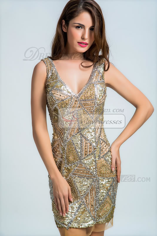 Hot Short/Mini Sleeveless Straps V-neck Beading Sequin Crystal Zipper Prom Dress