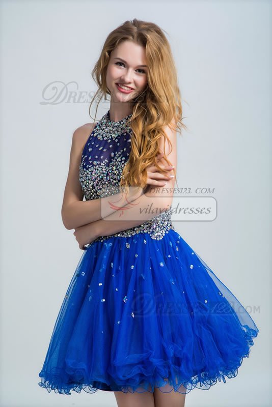 Classic Round Brought Neck A-line Short/Mini Zipper Back Sleeveless Beading and Crystal Prom Dress