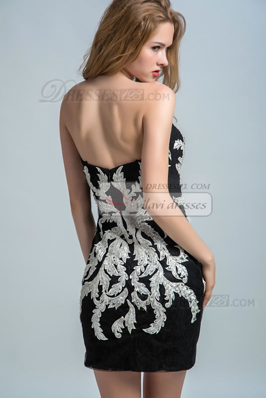 Concise Short/Mini Barrel Skirt Sleeveless Zipper Back Appliques and Beadings Natural Waist Prom Dress