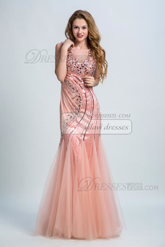 A-line Tulle Floor-length Sleeveless V-neck Beadings/Sequins Natural Lace-up Prom Dress