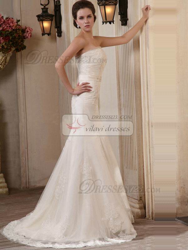 Incomparable Mermaid Lace Tube Top Sweep Wedding Dresses