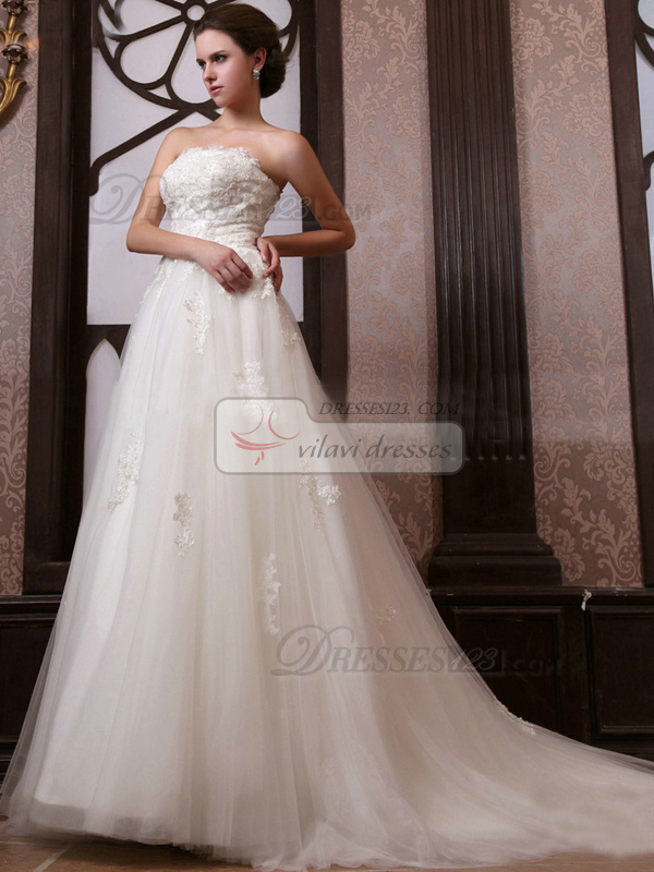 Happiness Princess Tulle Court Train Lace Wedding Dresses