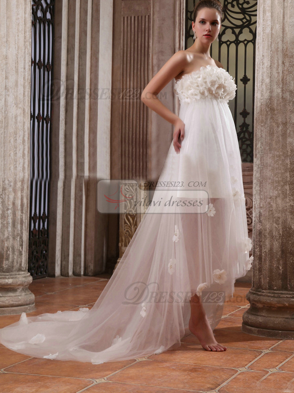 Appealing A-Line Tulle Tube Top Flower Wedding Dresses