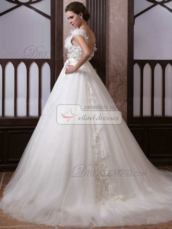 Fantasy Ball Gown Tulle Straps Court Train Wedding Dresses