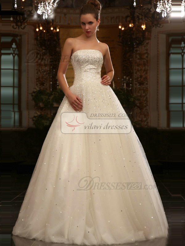 Great Princess Tube Top Floor-length Sequin Wedding Dresses