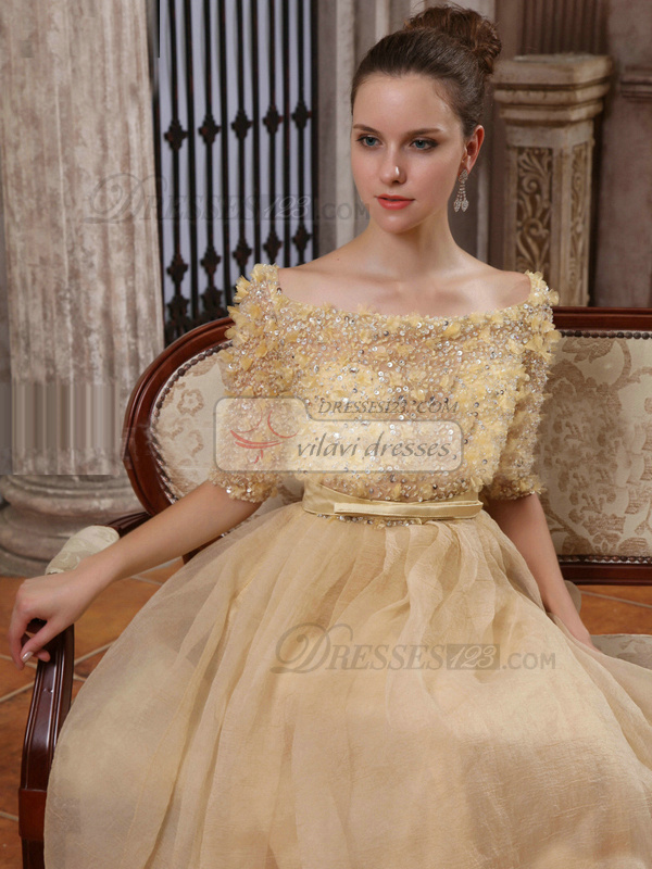 Elegant A-line Tulle Bateau Floor-length Wedding Dresses