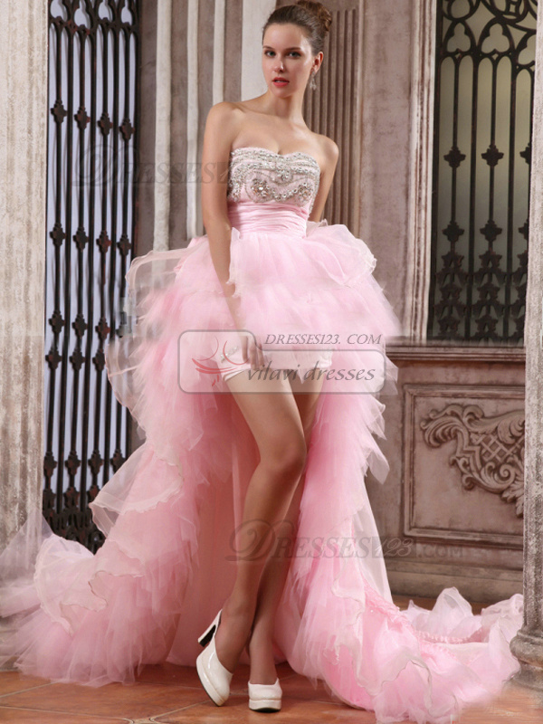 Brilliant A-line Sweetheart Asymmetrical Train Cascading Ruffle Wedding Dresses