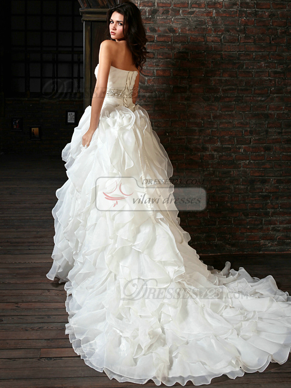 Noble Ball Gown Organza Tube Top Cathedral Train Beading Wedding Dresses