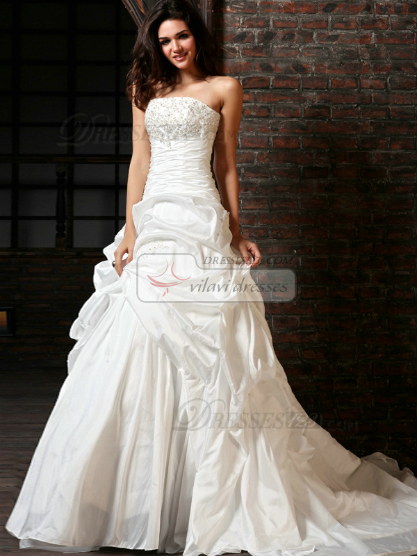 A-Line Taffeta Tube Top Chapel Train Sequin Wedding Dresses ...
