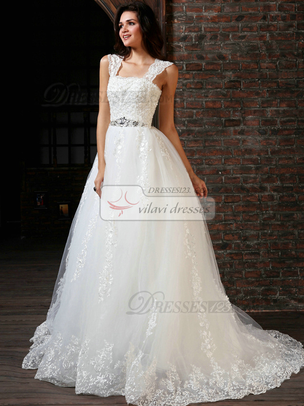 Brilliant Ball Gown Lace Straps Court Train Beading Wedding ...
