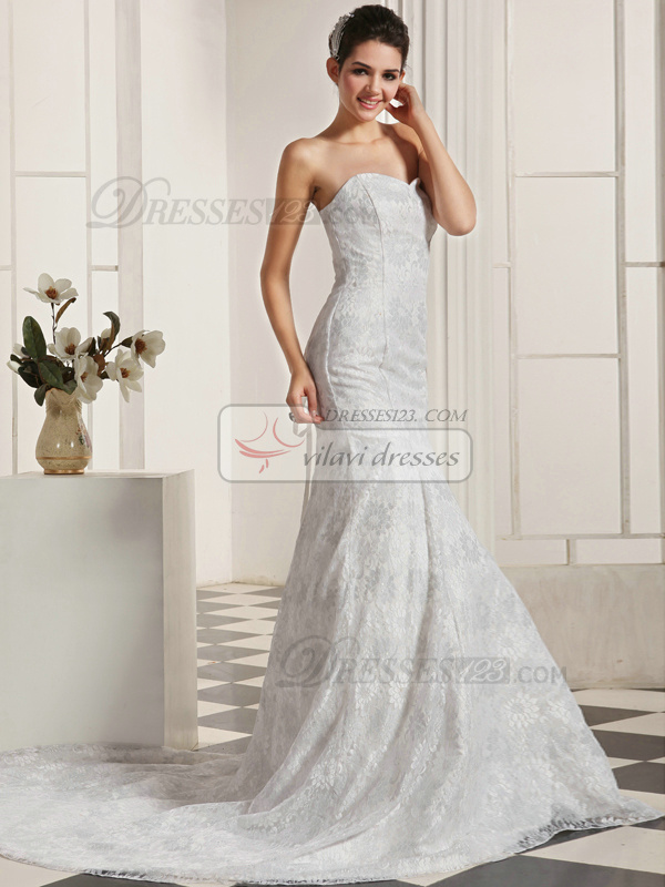 Precious Mermaid Lace Sweetheart Chapel Train Lace Wedding Dresses