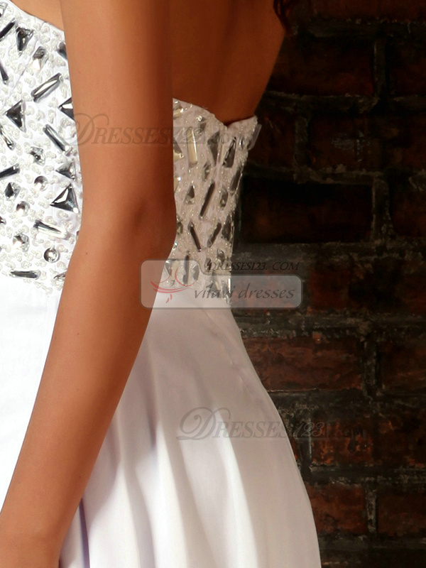 Adorable Column Chiffon Sweetheart Crystal Floor-length Wedding Dresses