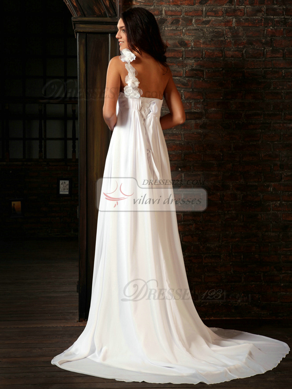 Astounding Column Chiffon One shoulder Flower Court Train Wedding Dresses