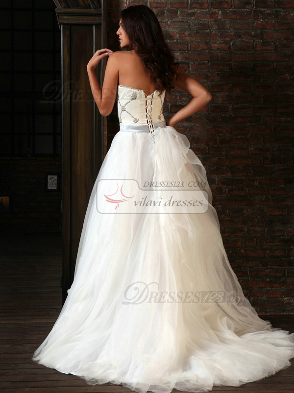 Fabulous A-Line Tulle Sweetheart Sashes Sweep Train Wedding Dresses