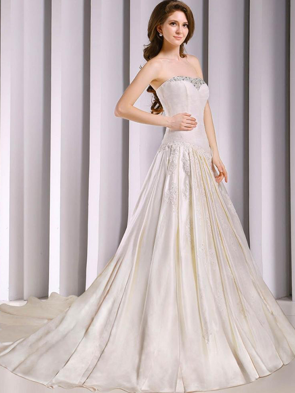 Strapless Beaded Bodice Satin Court Train Wedding Dress