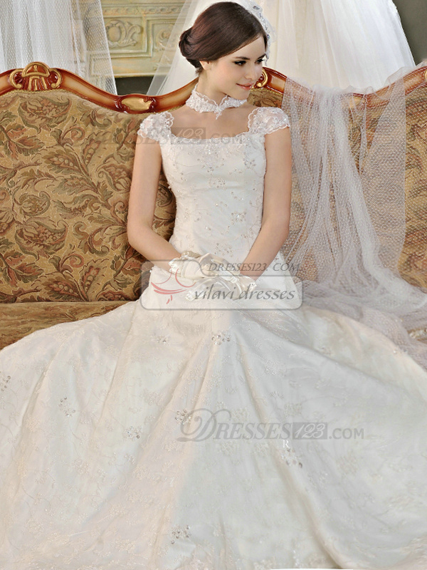 A-line Lace Straps Lace-up Chapel Train Sequin Wedding Dresses