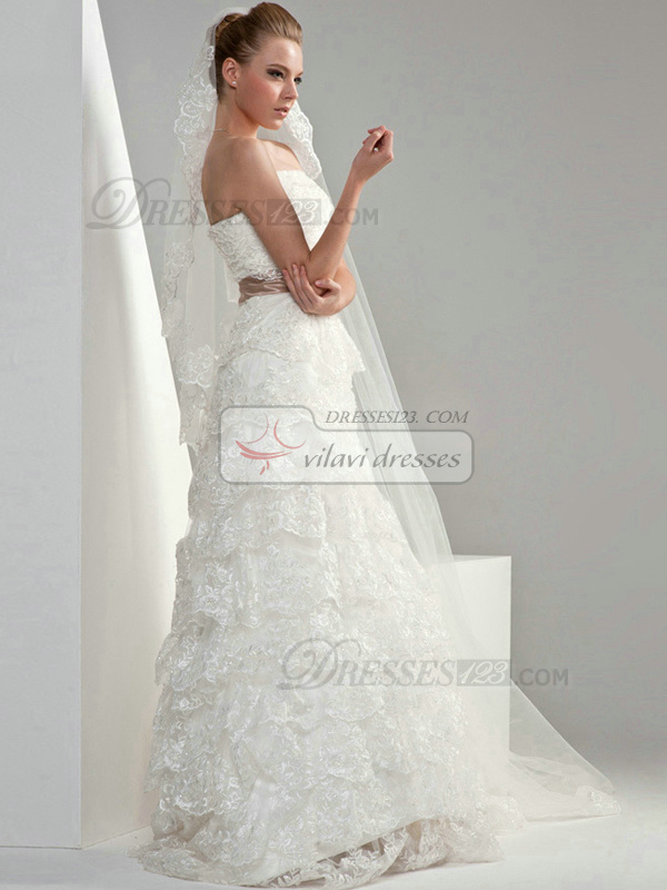 A-line Lace Tube Top Strapless Natural Sweep Sash Bowknot Wedding Dresses