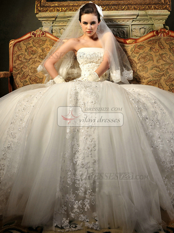 A-line Lace Tube Top Strapless Lace-up Cathedral Train Appliques Flower Wedding Dresses